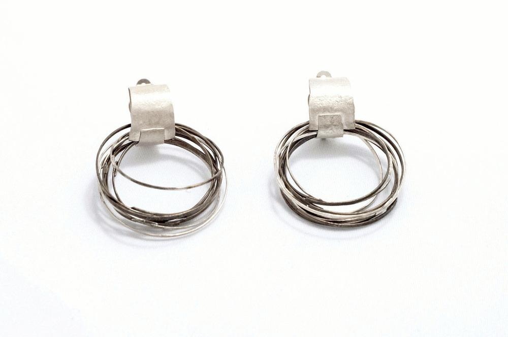 Biba Schutz,Art Jewelry, Earrings, Bronze, Silver,Wire Wrap Hoops Sherrie Gallerie