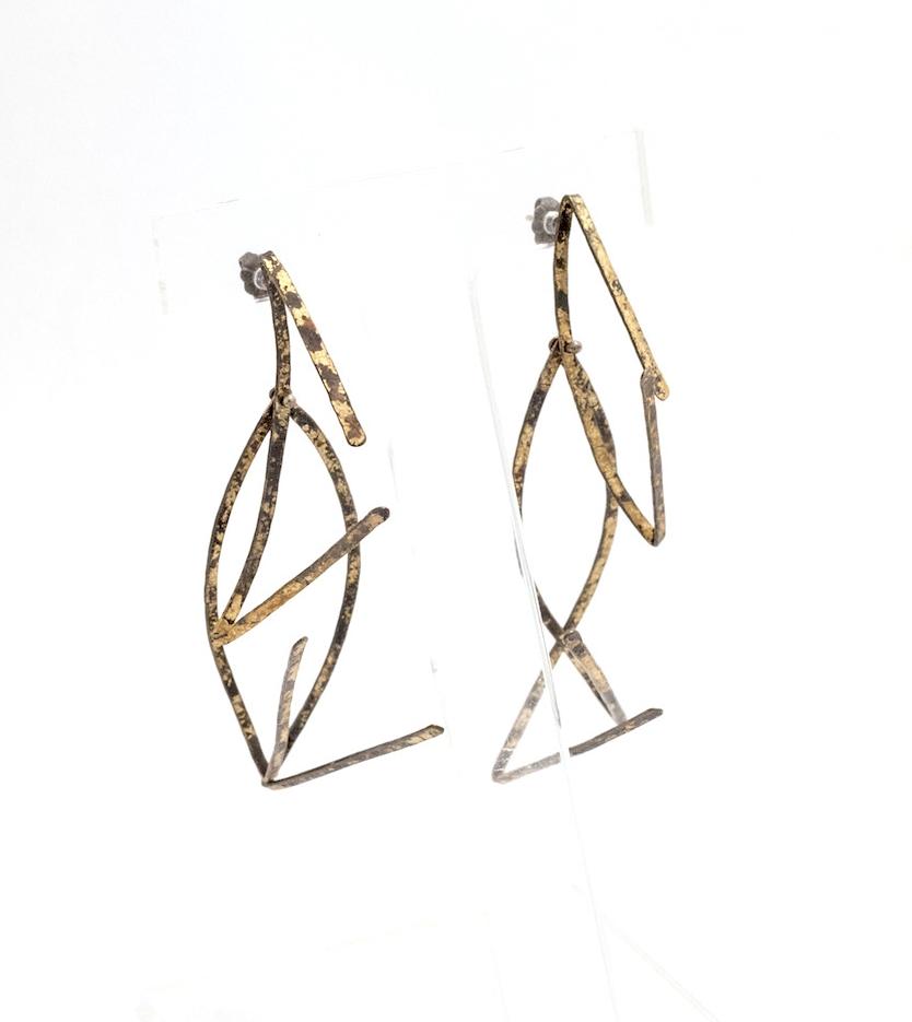 Biba Schutz,Art Jewelry, Earrings, Bronze, Tortoise Shell, Links Sherrie Gallerie