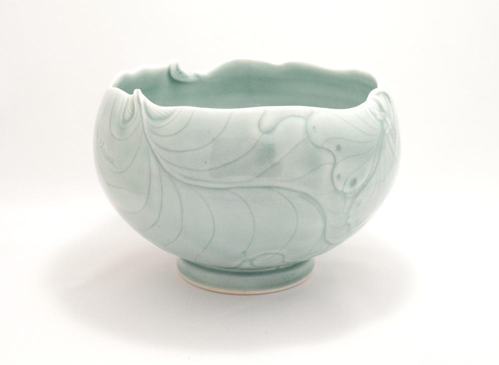 Elaine Coleman, Green Frog Jar,porcelain ceramic, celadon glaze, functional, pottery, Sherrie Gallerie