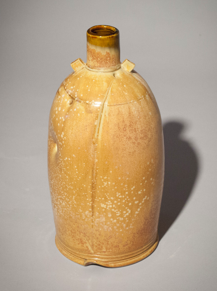 Tom Coleman, Yellow Leopard Haystack Bottle, porcelain ceramic vessel, functional, pottery, Sherrie Gallerie