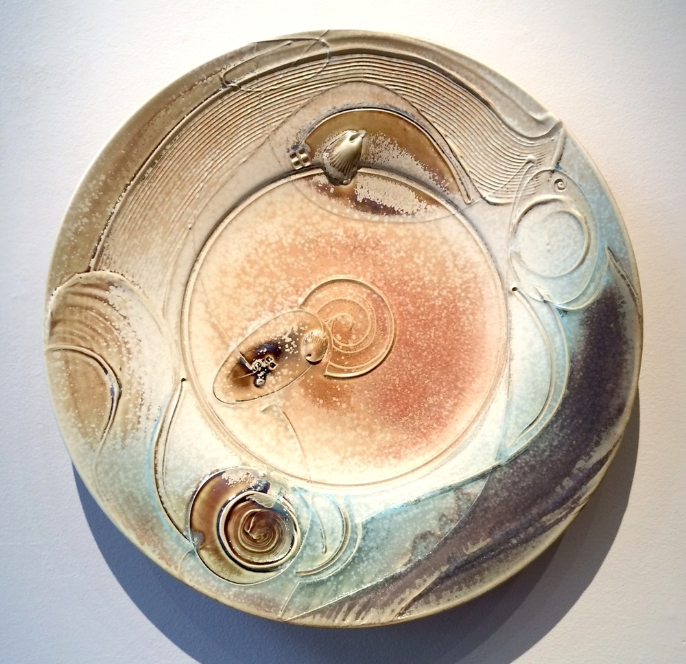 Tom Coleman, Crystal Matt Fossil Platter, porcelain ceramic vessel, functional, pottery, Sherrie Gallerie