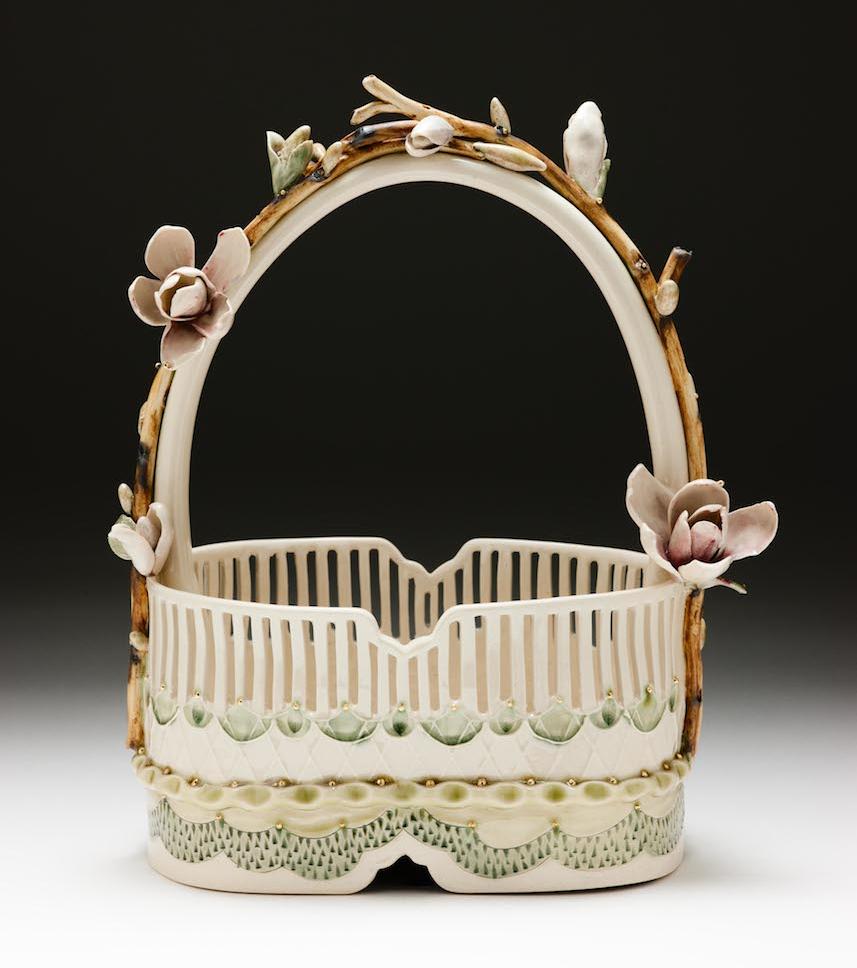 Claire Prenton, Magnolia Basket, porcelain, ceramic, Sherrie Gallerie