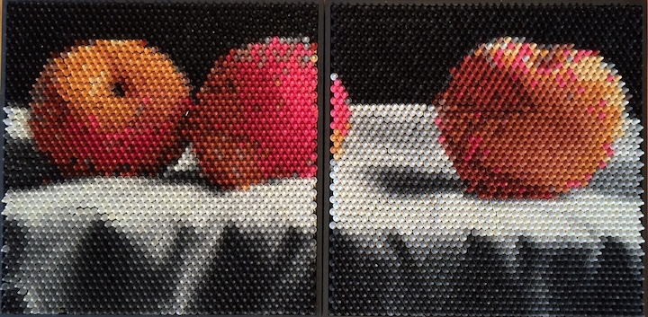 Christian Faur, Peaches, hand cast encaustic crayons, pointillism, contemporary art, Sherrie Gallerie