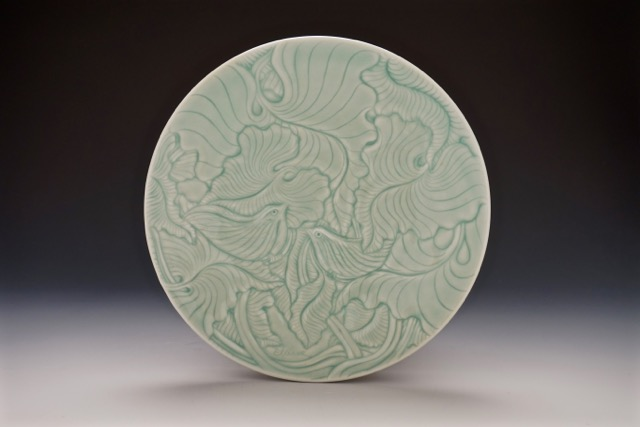 Elaine Coleman, Birds and Leaves Plate, porcelain ceramic, celadon glaze, functional pottery, Sherrie Gallerie
