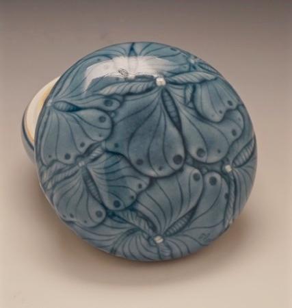 Elaine Coleman, Dark Blue Moth Jar,porcelain ceramic, celadon glaze, functional, pottery, Sherrie Gallerie