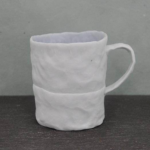 Ingrid Bathe, Mug, hand built porcelain ceramic, neodymium glaze, functional, pottery, Sherrie Gallerie