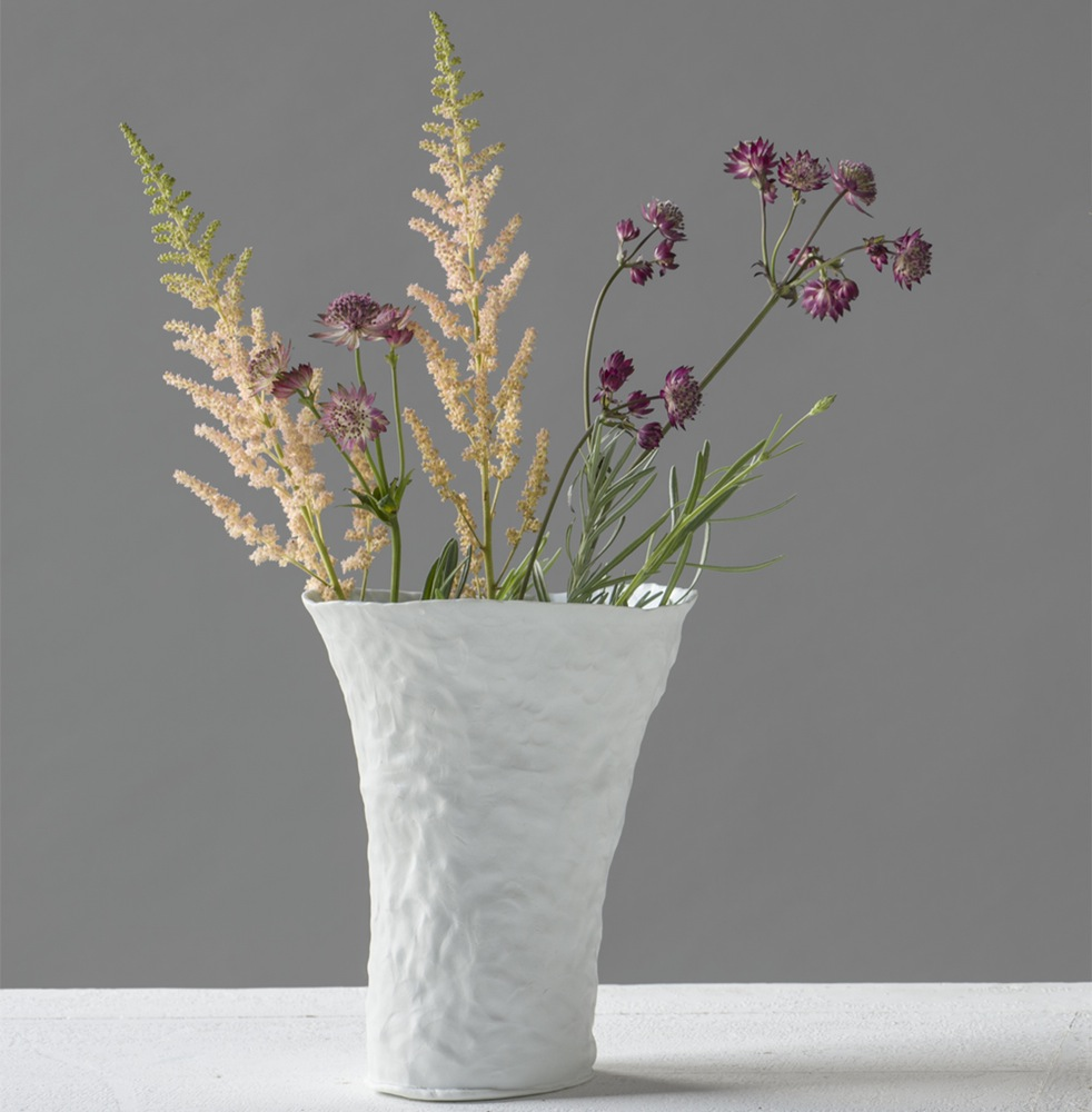 Ingrid Bathe, Bouquet Vase, hand built porcelain ceramic, neodymium glaze, functional, pottery, Sherrie Gallerie