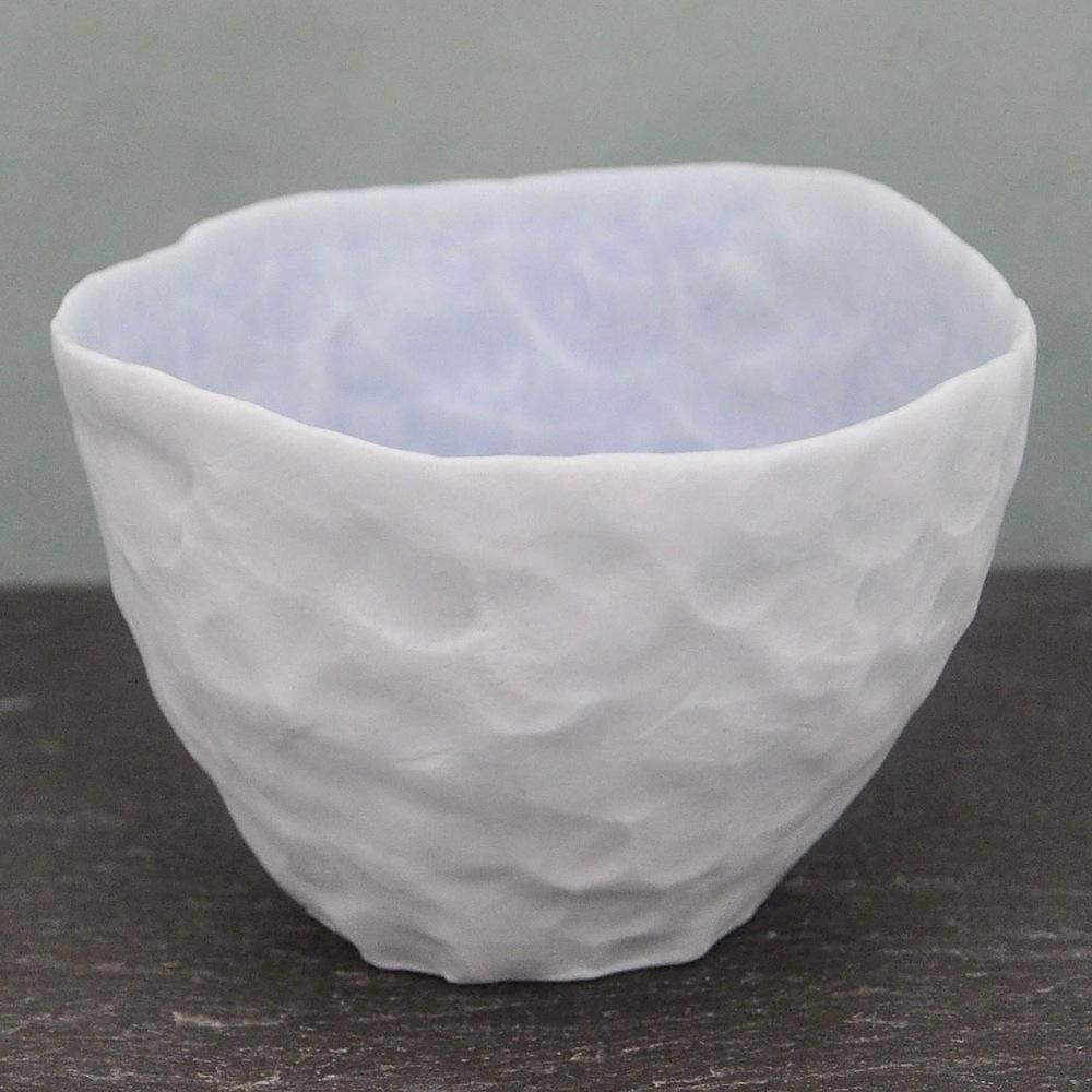 Ingrid Bathe, Dessert Bowl, hand built porcelain ceramic, neodymium glaze, functional, pottery, Sherrie Gallerie