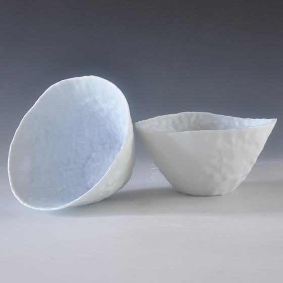 Ingrid Bathe, Cereal Bowl, hand built porcelain ceramic, neodymium glaze, functional, pottery, Sherrie Gallerie