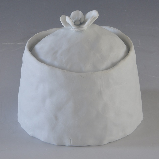 Ingrid Bathe., Covered Jar, hand built porcelain ceramic, neodymium glaze, functional, pottery, Sherrie Gallerie