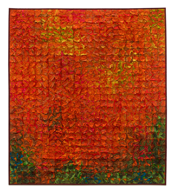 Tim Harding, Paprika Grid, silk, fiber art, abstract, landscape, painting, Sherrie Gallerie