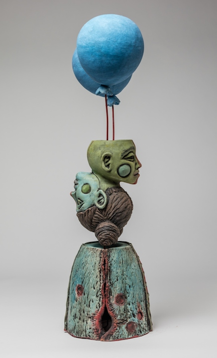 Julie Woodrow, Floating is Better Than Sinking, ceramic, figurative, Sherrie Gallerie
