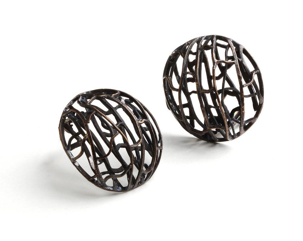 Biba Schutz,Art Jewelry, Earrings, Bronze, Studs,Sherrie Gallerie