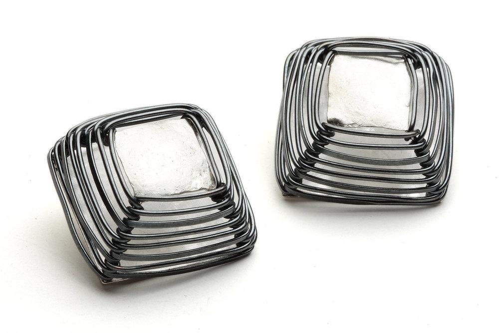 Biba Schutz,Art Jewelry, Earrings, Silver,Wire Wrap, studs, clip, Sherrie Gallerie