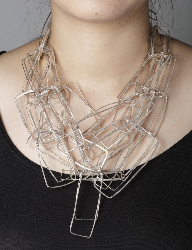 Biba Schutz,Art Jewelry, Necklace, Silver,Links, Sherrie Gallerie