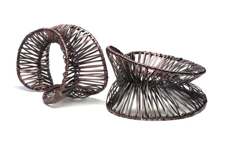 Biba Schutz, Art Jewelry, Bracelet, Wire Wrap, silver, bronze, Wearable, Sherrie Gallerie
