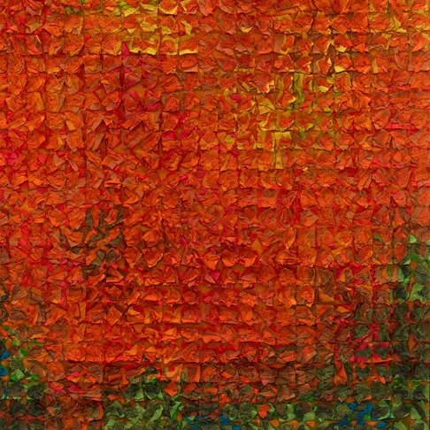 Tim Harding, Paprika Grid, layered hand dyed silk, fiber art, wall hanging, Sherrie Gallerie