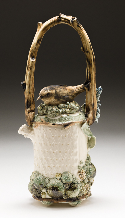 Claire Prenton, Wren and Hyacinth Coffee Pot, porcelain, ceramic, teapot, Sherrie Gallerie
