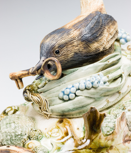 Claire Prenton, Wren with a Key, porcelain, ceramic, Sherrie Gallerie