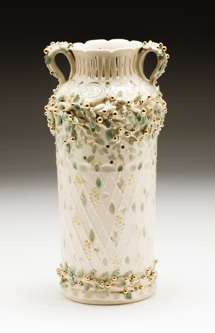 Claire Prenton, Gold Berries Vase, porcelain, ceramic, vessel, Sherrie Gallerie
