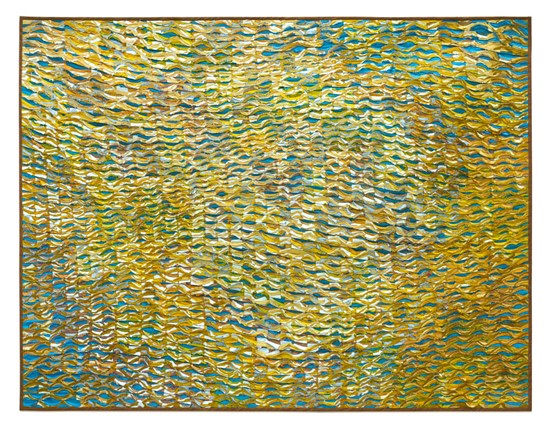 Tim Harding, Gold Vibrations, silk, fiber art, abstract, landscape, painting, Sherrie Gallerie