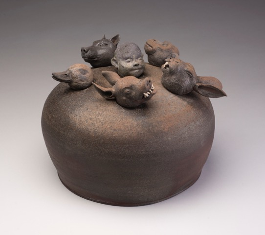 Joe Bova, Aesop's Game, ceramic sculpture, Sherrie Gallerie