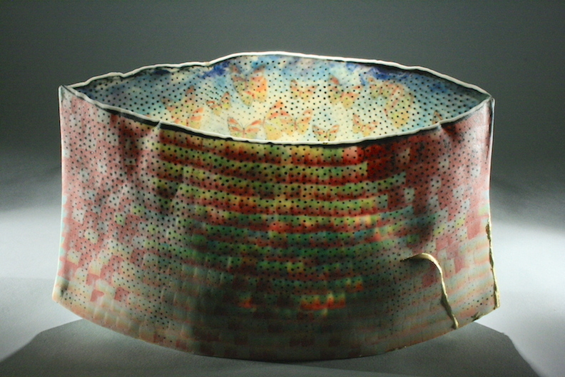 """Curtis Benzle, """"Expanding Skies,"""" porcelain, 12x7x3.5 in, $3400"""