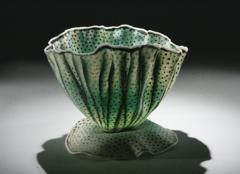 "Curtis Benzle, ""Floral 11,"" porcelain, 4x4.5x4.5 in, SOLD"