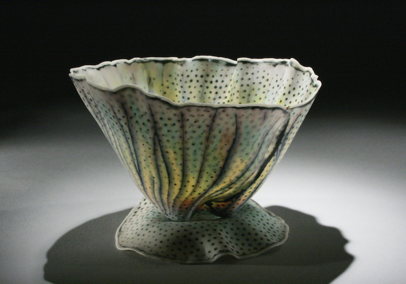 """Curtis Benzle, """"Floral 6,"""" porcelain, 4x4.5x4.5 in, SOLD"""