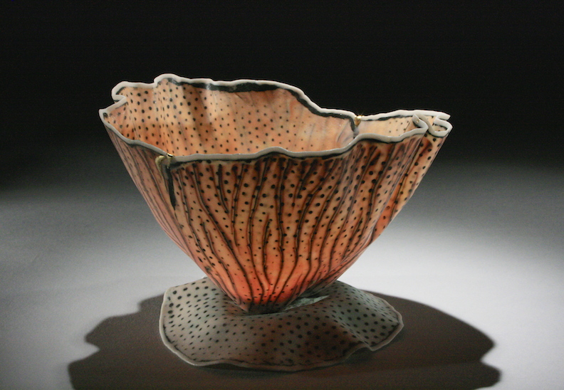 "Curtis Benzle, ""Floral 5,"" porcelain, 4x4.5x4.5 in, SOLD"