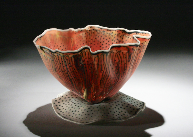 """Curtis Benzle,""""Floral 4,"""" porcelain, 4x4.5x4.5 in, $450"""