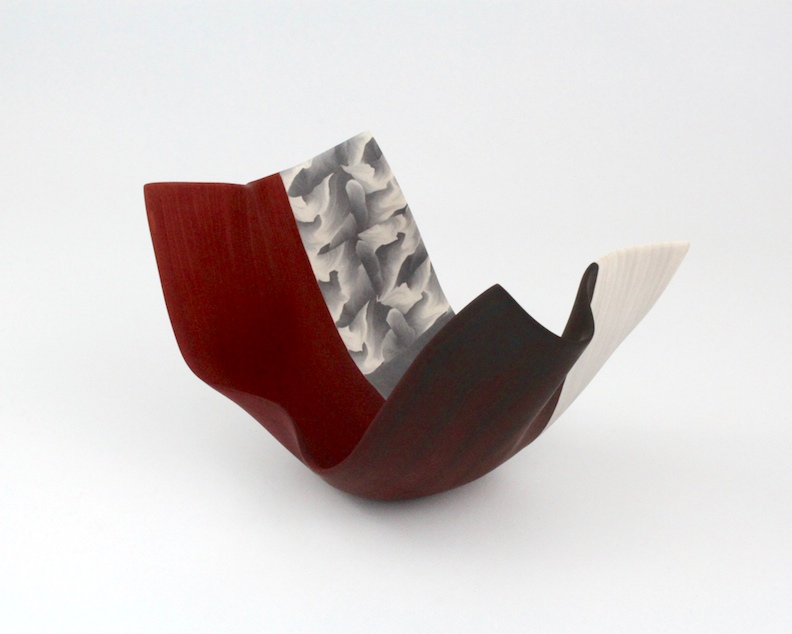 "Thomas Hoadley, ""Arabesque 1109,"" colored porcelain, 5.25x8x5.5 in, $980"