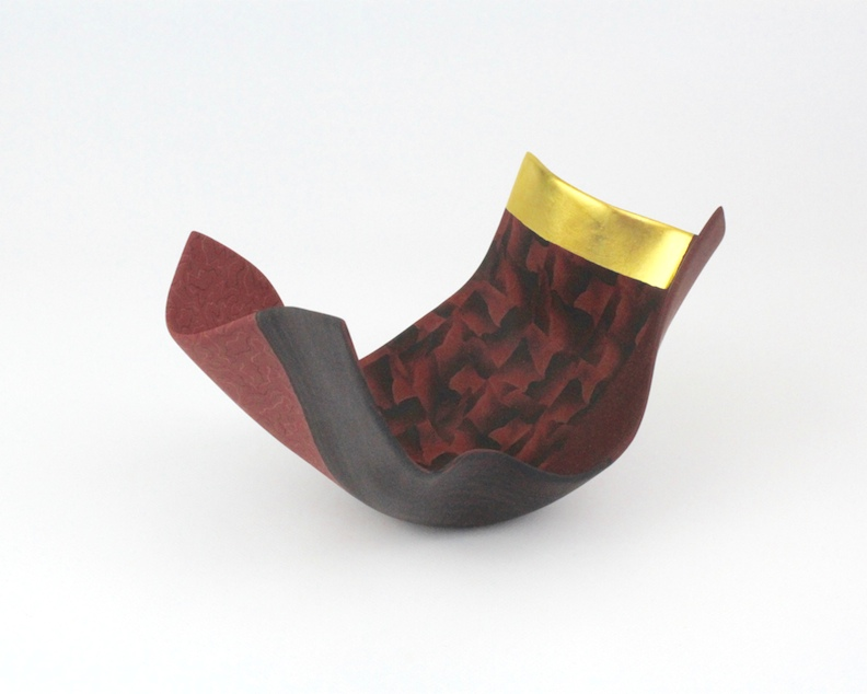 "Thomas Hoadley, ""Arabesque 1113,"" colored porcelain, 5x9x5.75 in, SOLD"