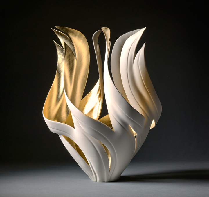 "Jennifer McCurdy, ""Gilded Fire Vessel,"" wheel-thrown, altered, and carved porcelain, 17x12x12 in, $6800"
