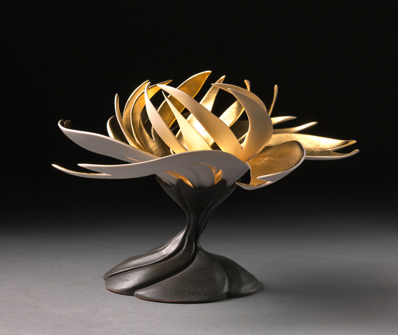 """Jennifer McCurdy, """"Gilded Water Lily,"""" wheel-thrown, altered, and carved porcelain, 6x10x10 in, SOLD"""