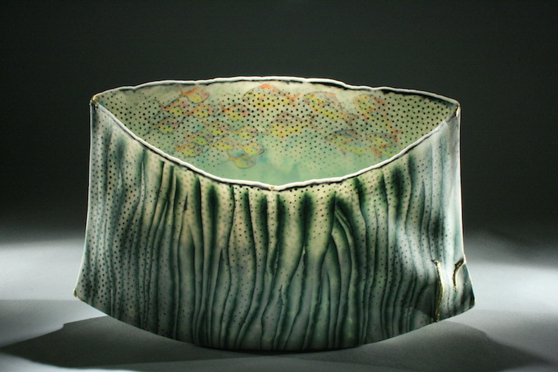 Curtis Benzle, Roil Below, porcelain ceramic vessel, Sherrie Gallerie