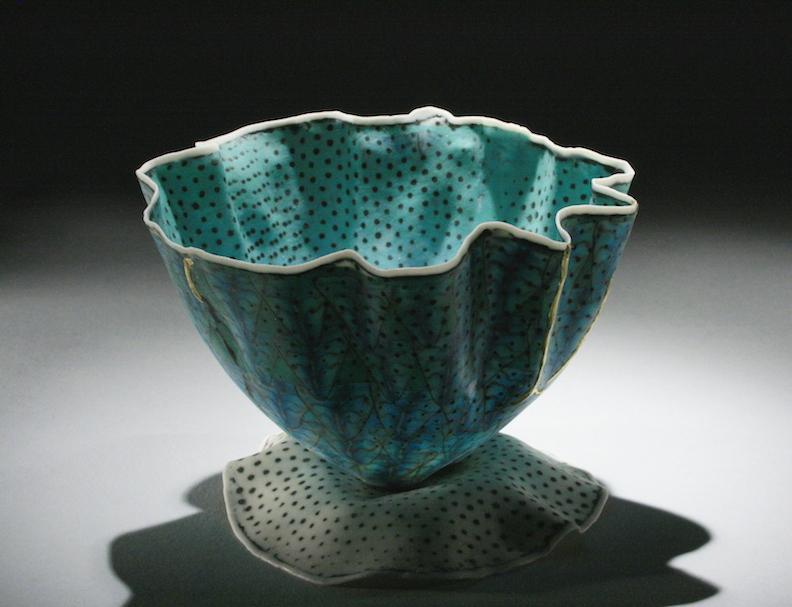 Curtis Benzle, Floral 13, porcelain ceramic vessel,Sherrie Gallerie