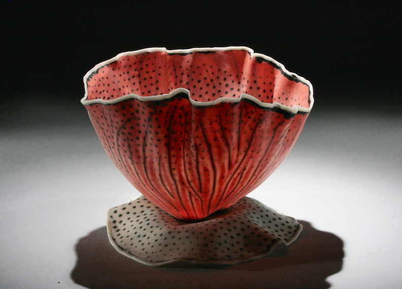 Curtis Benzle, Floral 12, porcelain ceramic vessel,Sherrie Gallerie
