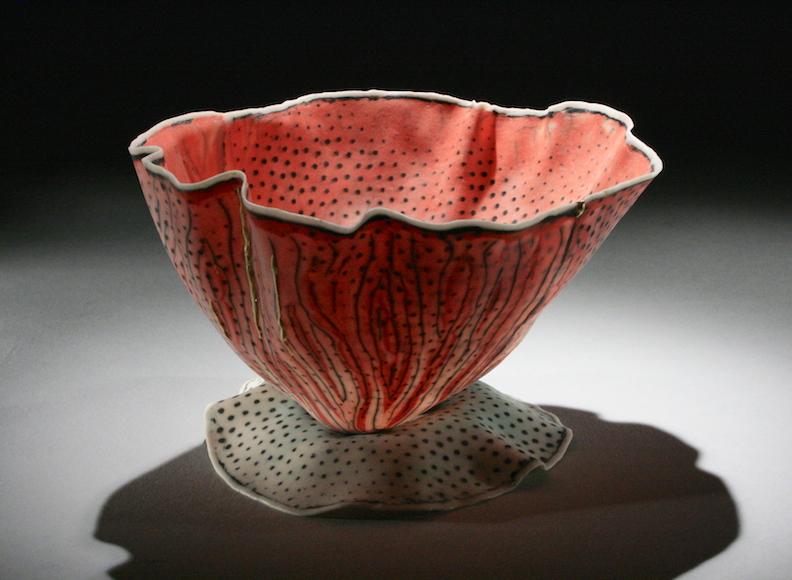 Curtis Benzle, Floral 8, porcelain ceramic vessel,Sherrie Gallerie