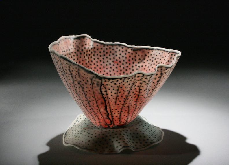 Curtis Benzle, Floral 7, porcelain ceramic vessel,Sherrie Gallerie