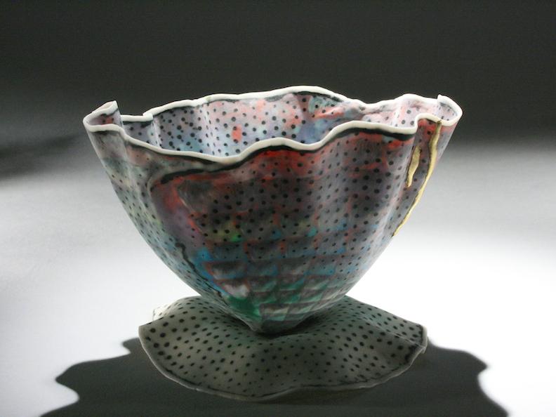 Curtis Benzle, Floral 2, porcelain ceramic vessel,Sherrie Gallerie