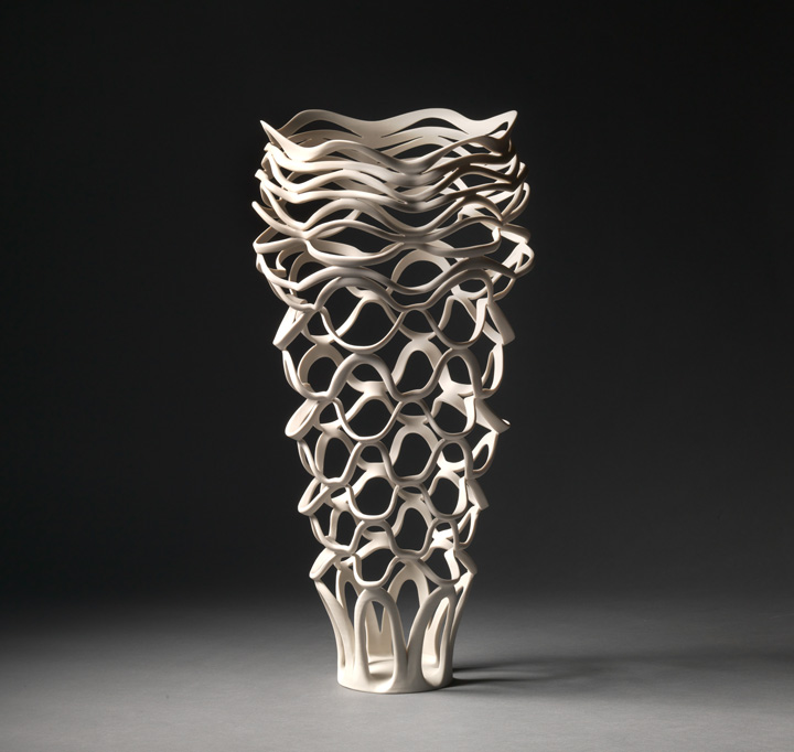 "Jennifer McCurdy, ""Radiatori Vessel 4"" wheel-thrown, altered, and carved porcelain, 17x10x10 in, $3800"
