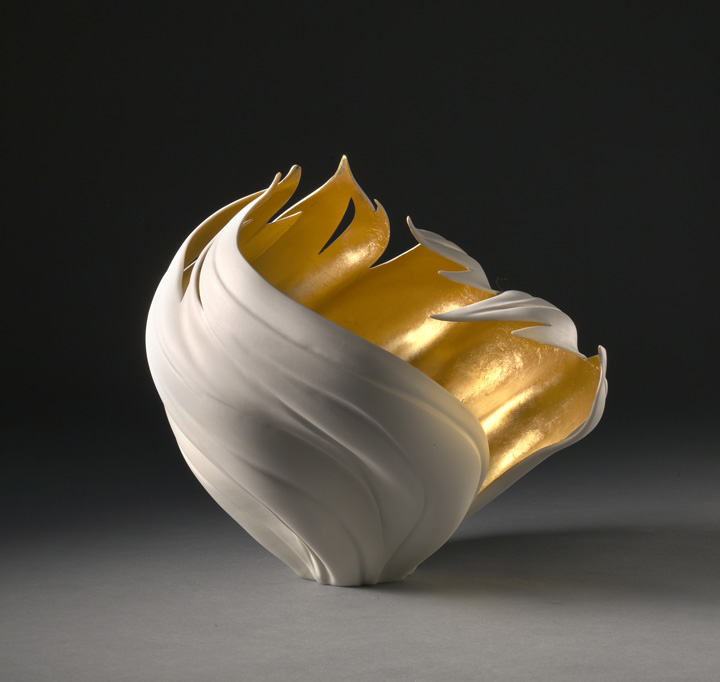 """Jennifer McCurdy, """"Gilded Wind Vessel"""" wheel-thrown, altered, and carved porcelain, 9x9x9 in, SOLD"""