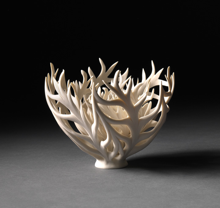 "Jennifer McCurdy, ""Little Coral Nest"" wheel-thrown, altered, and carved porcelain, 5x5x5 in, SOLD"