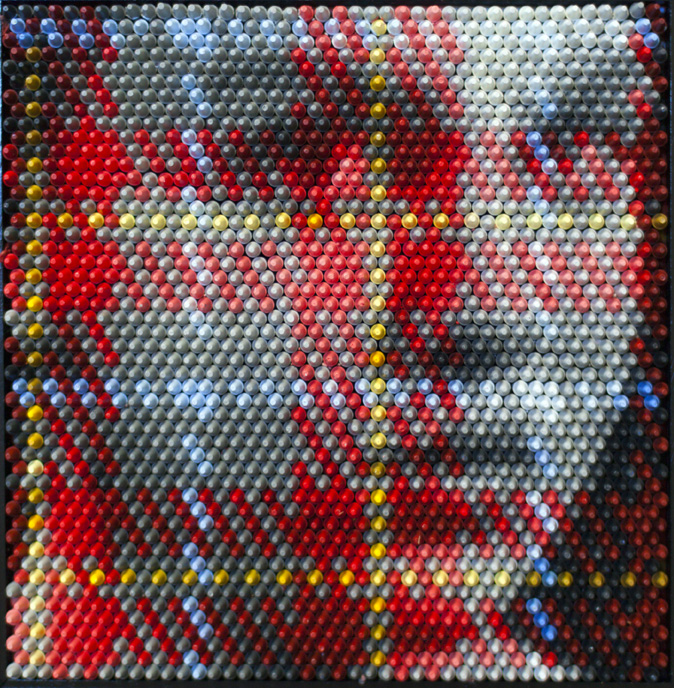 Christian Faur, Melodie 74, hand cast encaustic crayons, pointillism, contemporary art, Sherrie Gallerie
