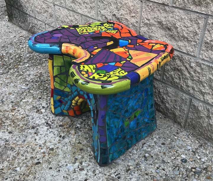 Russ Vogt, Tiled Bench, ceramic, outdoor sculpture, statue, midcentury, Sherrie Gallerie