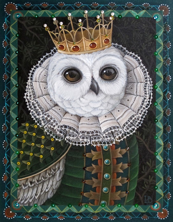 Laine Bachman, Owlet, acrylic painting, beads on canvas, beading, nature, Sherrie Gallerie
