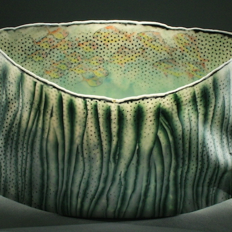 Curtis Benzle, Roil Below, colored porcelain, ceramic, vessel, Sherrie Gallerie