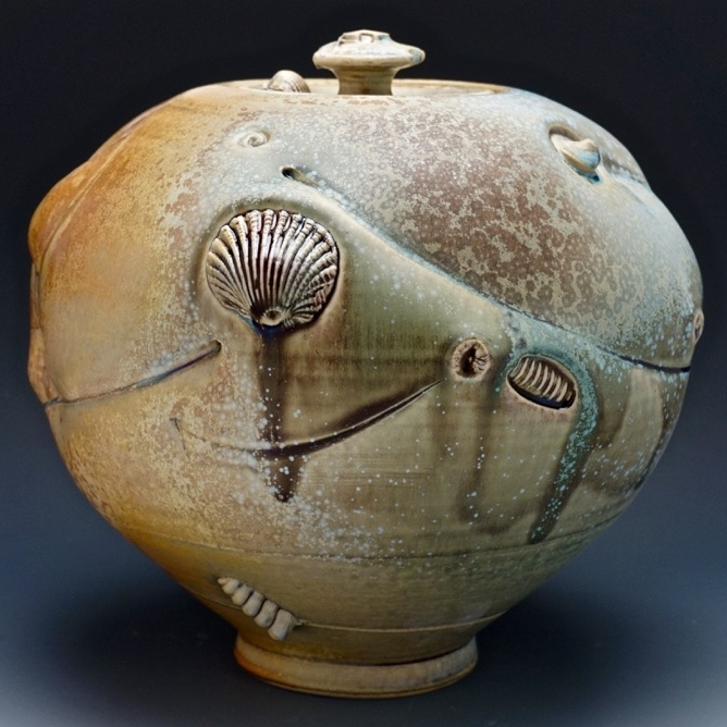 Tom Coleman, Crystal Matte Fossil Jar, wheel thrown porcelain and crystal matte glaze, ceramic, pottery, Sherrie Gallerie