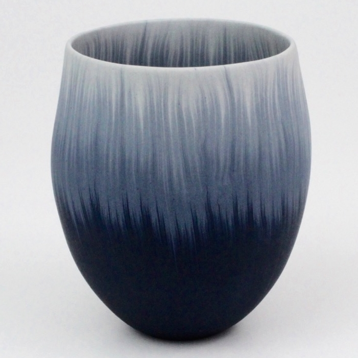Thomas Hoadley, Blue and White Vessel, colored porcelain, ceramic, Sherrie Gallerie